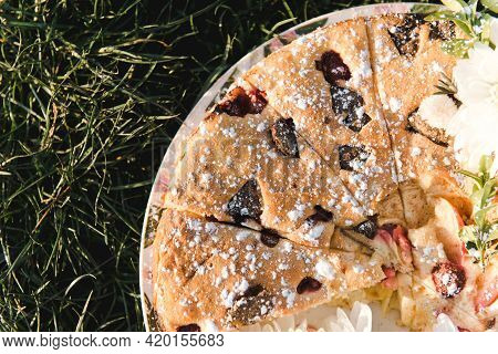 Berry Pie. Pie With Berries On A Grass Background. Picnic. Spring