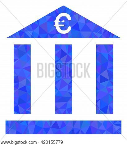 Triangle Euro Bank Building Polygonal Symbol Illustration. Euro Bank Building Lowpoly Icon Is Filled
