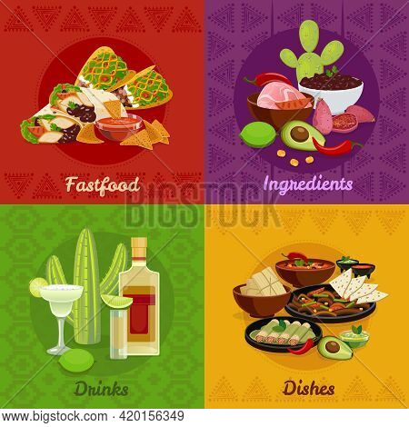 Mexican Native Food Spicy Dishes Snacks And Drinks 4 Flat Icons Square Composition Banner Isolated V