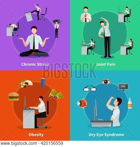 Office Syndrome 2x2 Flat Design Concept Set Of Diseases As Results Of Sedentary Work Vector Illustra