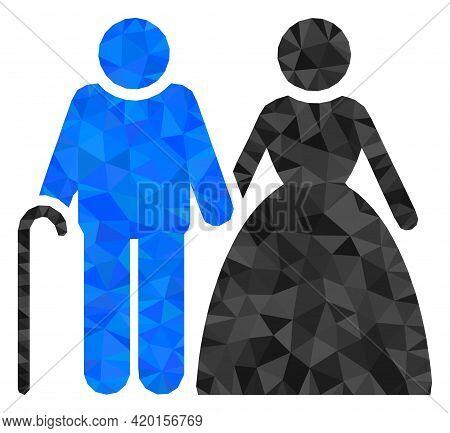 Triangle Grandparents Couple Polygonal Icon Illustration. Grandparents Couple Lowpoly Icon Is Filled