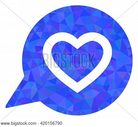 Triangle Favourite Heart Message Polygonal Symbol Illustration. Favourite Heart Message Lowpoly Icon