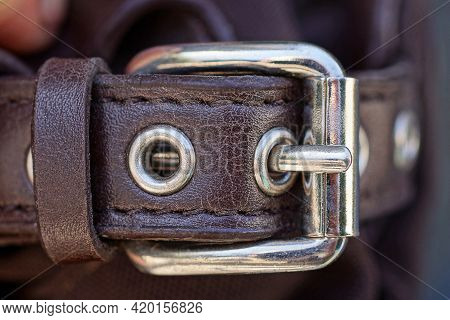 One Metal White Buckle On A Brown Leather Harness Bag Strap