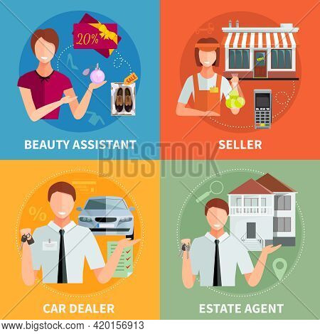 Salesman 2x2 Design Concept Set With Car Diller Estate Agent Seller And Beauty Assistant Flat Vector
