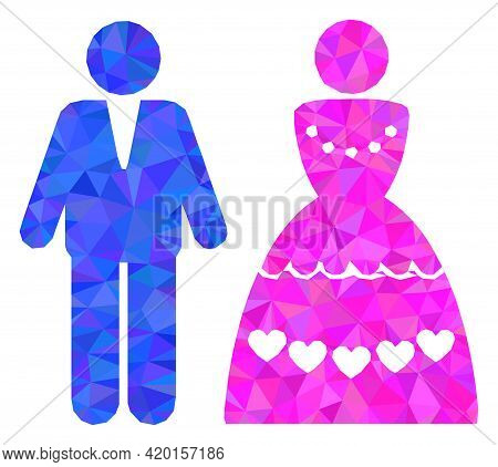 Triangle Marriage Couple Polygonal Icon Illustration. Marriage Couple Lowpoly Icon Is Filled With Tr