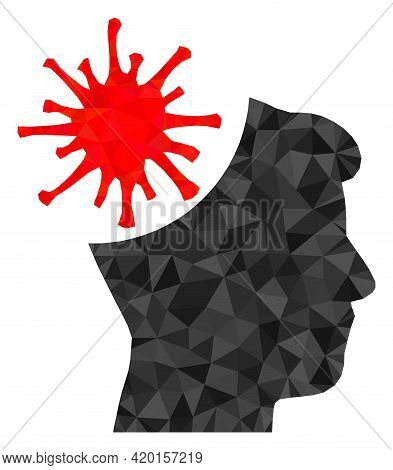 Triangle Coronavirus Mad Man Polygonal Symbol Illustration. Coronavirus Mad Man Lowpoly Icon Is Fill