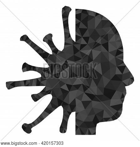 Triangle Coronavirus Man Head Polygonal Icon Illustration. Coronavirus Man Head Lowpoly Icon Is Fill