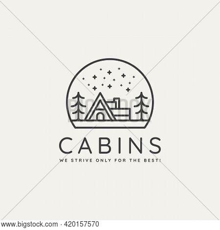 Winter Wildlife Cabin Minimalist Line Art Badge Logo Template Vector Illustration Design. Simple Min