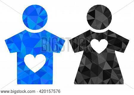 Triangle Lovers Pair Polygonal Icon Illustration. Lovers Pair Lowpoly Icon Is Filled With Triangles.