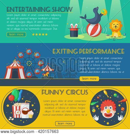 Circus Horizontal Banner Set With Exciting Performance Isolated Vector Illustration