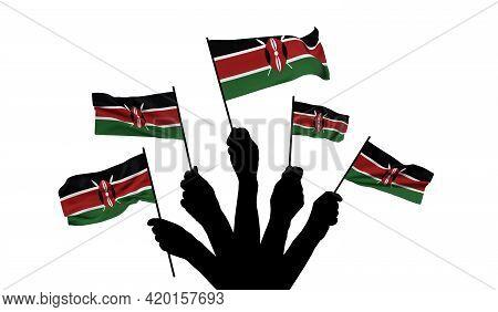 Kenya National Flag Being Waved. 3d Rendering