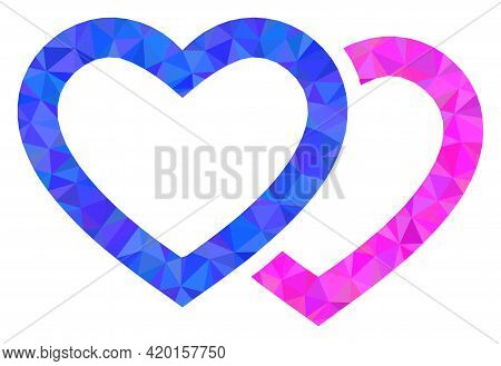 Triangle Romantic Hearts Polygonal Symbol Illustration. Romantic Hearts Lowpoly Icon Is Filled With