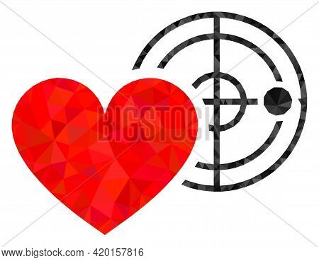 Triangle Love Heart Radar Polygonal Icon Illustration. Love Heart Radar Lowpoly Icon Is Filled With