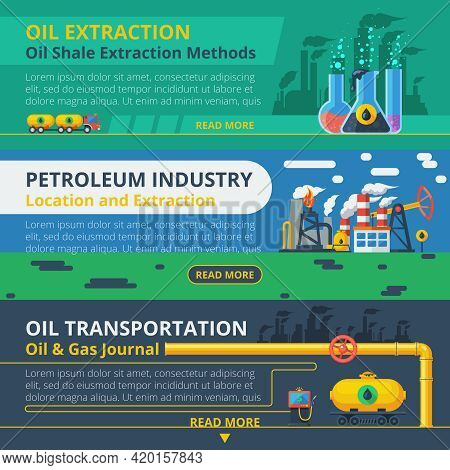 Oil Industry Horizontal Banner Set With Petroleum Transportation Elements Isolated Vector Illustrati