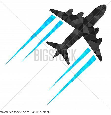 Triangle Flying Airplane Trace Polygonal Icon Illustration. Flying Airplane Trace Lowpoly Icon Is Fi