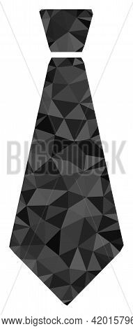 Triangle Male Tie Polygonal Icon Illustration. Male Tie Lowpoly Icon Is Filled With Triangles. Flat