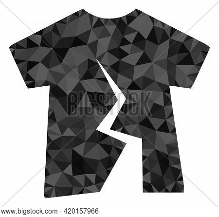 Triangle Torn T-shirt Polygonal Icon Illustration. Torn T-shirt Lowpoly Icon Is Filled With Triangle