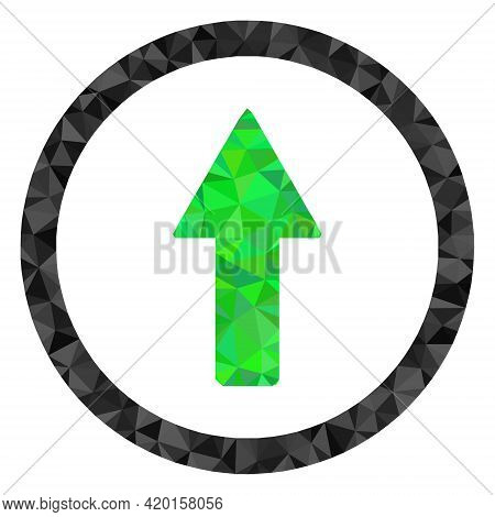 Triangle Rounded Up Arrow Polygonal Symbol Illustration. Rounded Up Arrow Lowpoly Icon Is Filled Wit