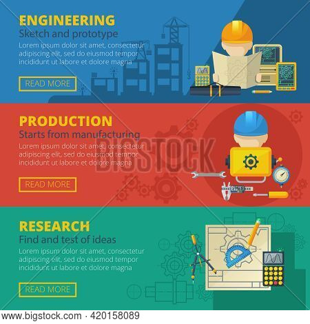 Civil Engineering Teamwork Project Research Presentation And Production Design 3 Flat Banners Set Ab