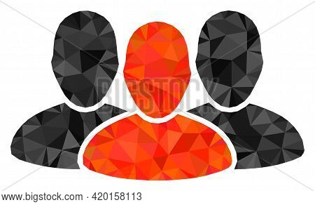 Triangle User Group Polygonal Icon Illustration. User Group Lowpoly Icon Is Filled With Triangles. F