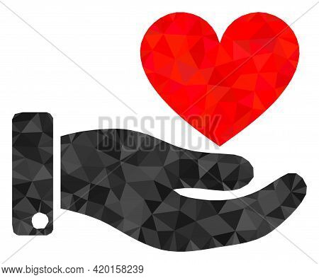 Triangle Hand Offer Love Heart Polygonal Icon Illustration. Hand Offer Love Heart Lowpoly Icon Is Fi
