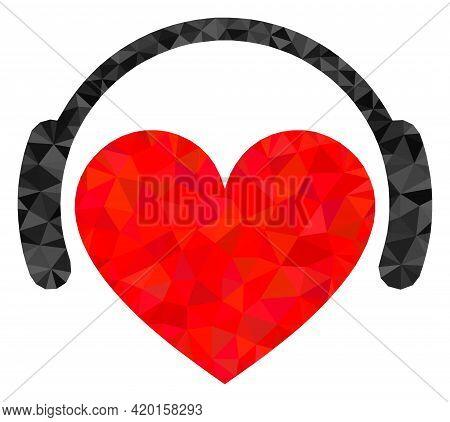 Triangle Love Heart Headphones Polygonal Icon Illustration. Love Heart Headphones Lowpoly Icon Is Fi