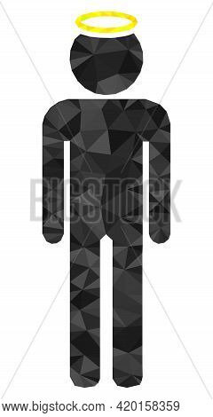 Triangle Holy Man Figure Polygonal Icon Illustration. Holy Man Figure Lowpoly Icon Is Filled With Tr