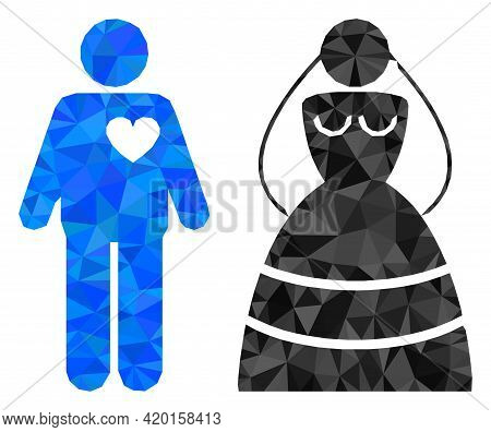 Triangle Marriage Persons Polygonal Icon Illustration. Marriage Persons Lowpoly Icon Is Filled With