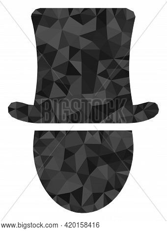Triangle Hat Man Polygonal Symbol Illustration. Hat Man Lowpoly Icon Is Filled With Triangles. Flat