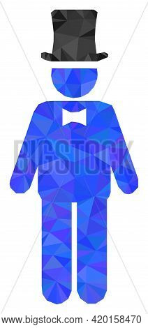 Triangle Gentleman Polygonal Icon Illustration. Gentleman Lowpoly Icon Is Filled With Triangles. Fla