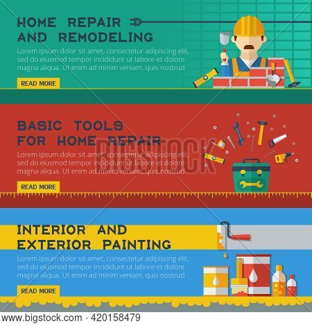 Home Repair And Remodeling Service Homepage Design 3 Flat Horizontal Interactive Banners Set Abstrac