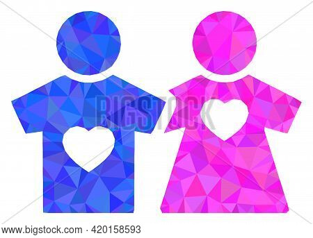 Triangle Lovers Persons Polygonal Icon Illustration. Lovers Persons Lowpoly Icon Is Filled With Tria