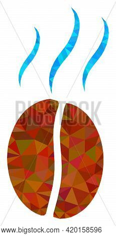 Triangle Smell Coffee Bean Polygonal Icon Illustration. Smell Coffee Bean Lowpoly Icon Is Filled Wit
