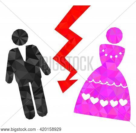 Triangle Divorce Persons Polygonal Icon Illustration. Divorce Persons Lowpoly Icon Is Filled With Tr