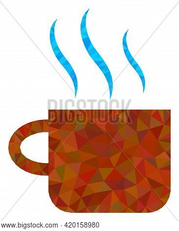 Triangle Hot Tea Cup Polygonal Icon Illustration. Hot Tea Cup Lowpoly Icon Is Filled With Triangles.