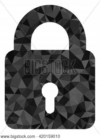 Triangle Lock Polygonal Symbol Illustration. Lock Lowpoly Icon Is Filled With Triangles. Flat Filled