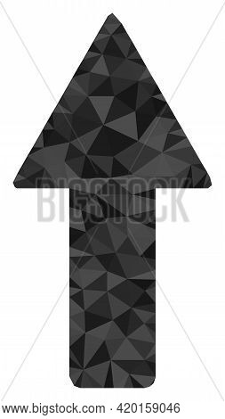 Triangle Arrow Up Polygonal Icon Illustration. Arrow Up Lowpoly Icon Is Filled With Triangles. Flat