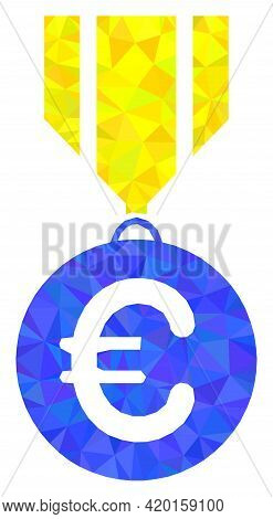Triangle Euro Medal Polygonal Symbol Illustration. Euro Medal Lowpoly Icon Is Filled With Triangles.