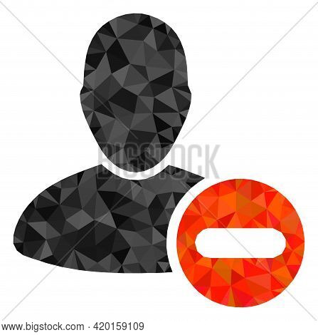 Triangle Remove User Polygonal Icon Illustration. Remove User Lowpoly Icon Is Filled With Triangles.