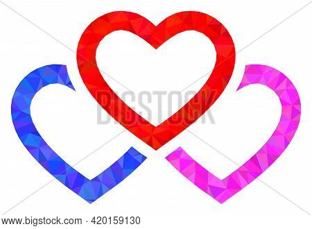 Triangle Triple Love Hearts Polygonal Symbol Illustration. Triple Love Hearts Lowpoly Icon Is Filled