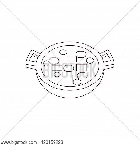 Isolated Aerival View Of A Ramen Food Icon Vector Illustration