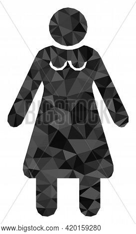 Triangle Old Woman Polygonal Icon Illustration. Old Woman Lowpoly Icon Is Filled With Triangles. Fla