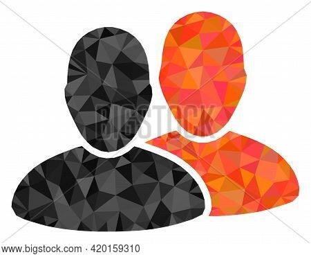 Triangle Users Polygonal Icon Illustration. Users Lowpoly Icon Is Filled With Triangles. Flat Filled