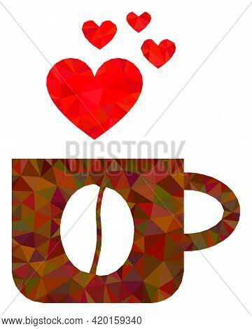 Triangle Love Coffee Cup Polygonal Symbol Illustration. Love Coffee Cup Lowpoly Icon Is Filled With