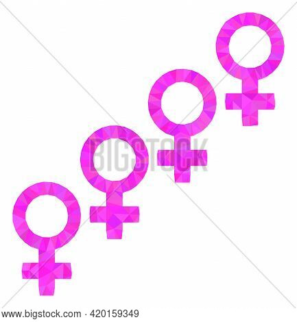 Triangle Female Cohort Symbol Polygonal Icon Illustration. Female Cohort Symbol Lowpoly Icon Is Fill