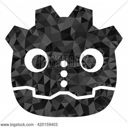 Triangle Robot Head Polygonal Icon Illustration. Robot Head Lowpoly Icon Is Filled With Triangles. F