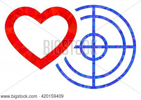 Triangle Romantic Heart Target Polygonal Symbol Illustration. Romantic Heart Target Lowpoly Icon Is