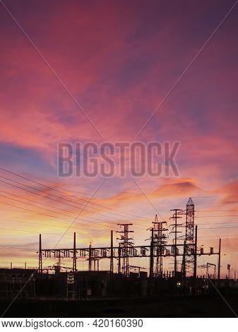 Power Transformer Substation, Electricity Transformer Substation, Electric Transformation Center, Si