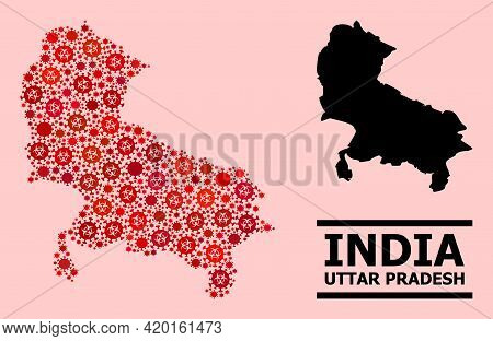 Vector Covid Mosaic Map Of Uttar Pradesh State Created For Lockdown Wallpapers. Red Mosaic Map Of Ut