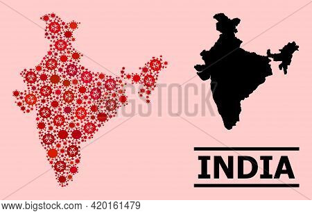 Vector Covid-2019 Mosaic Map Of India Done For Doctor Advertisement. Red Mosaic Map Of India Is Crea